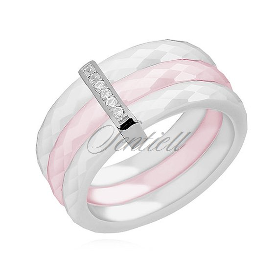Triple ceramic white and pink ring, with silver (925) rectangular element with zirconia
