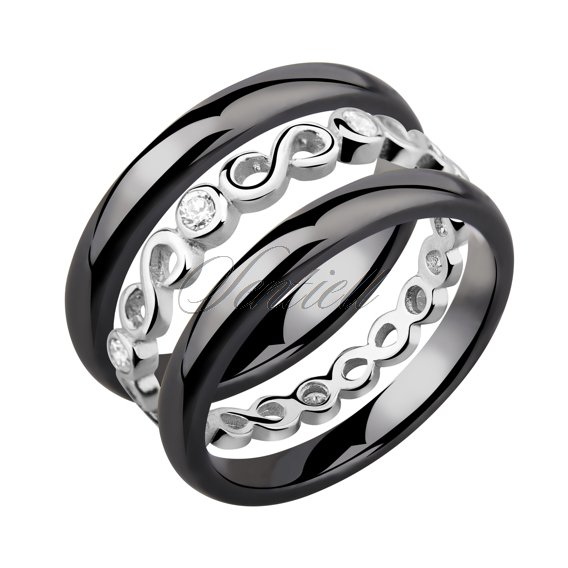 Two black ceramic rings and silver ring with zirconia - Infinity