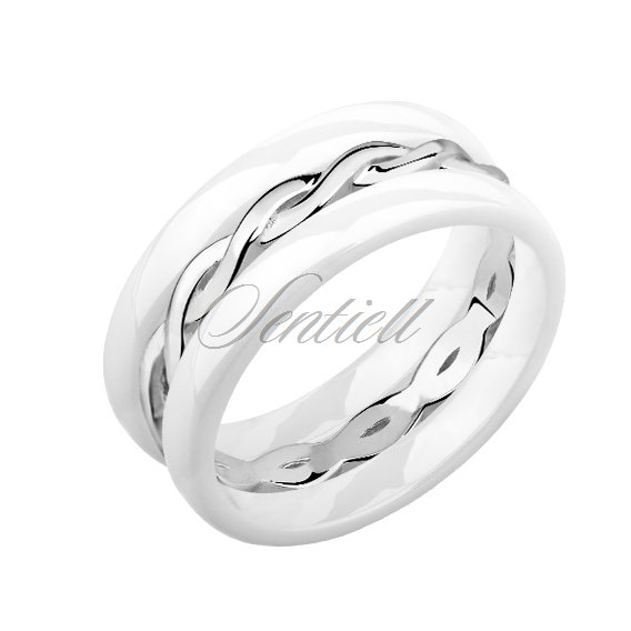 Two white ceramic rings and silver ring