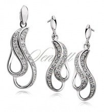 Silver (925) jewelry set (stud earrings and a pendant) rhodium plated